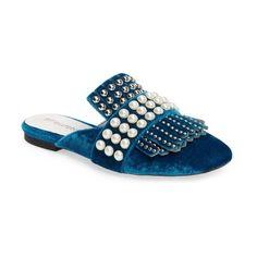 Women's Jeffrey Campbell Ravis Embellished Loafer Mule ($150) ❤ liked on Polyvore featuring shoes, blue velvet combo, blue fringe shoes, mule shoes, square toe shoes, blue loafers and blue shoes