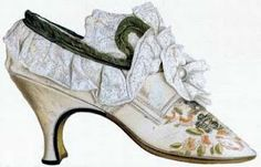 Shoes and stockings became very important for men in the 1700′s, when the tailored coat and breeches came into fashion and the focus shifted to the lower body. Suddenly, it was all about the shapely legs, and men wanted to wear flattering, fanciful hose and shoes to accentuate them. Louis XIV also had a thing for high heels with red soles and heels. Yep, this was for men.