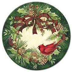 The holiday-themed Cardinal Wreath Lazy Susan has a woodland feel with holly leaves, sprigs of greenery, pine cones, a red bird, and plaid ribbon. Christmas Dishes, Christmas Frames, Christmas Scenes, Christmas Wood, Christmas Pictures, Christmas Clipart, Christmas Printables, Christmas Greetings, Holiday Wreaths