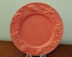 "Nantucket New Distressed Look 8"" Plates - Set of 4 - Seashell Pattern #NantucketSeashellPlates"