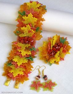 Beautiful Atumn inspiration jewelry Click on link to see more photos - http://beadsmagic.com/?p=5749