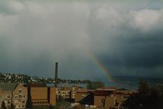 This image of nimbostratus clouds was taken in Seattle, WA. Notice the rain falling out of the cloud as well as the rainbow!  ( Courtesy of Peggy LeMone)