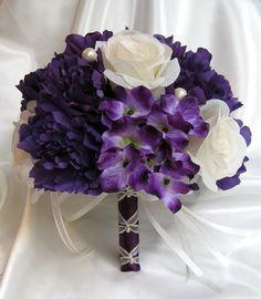Wedding bouquet Bridal Silk flowers PURPLE CREAM PEARL Plum Bridesmaids boutonnieres Corsages 17 pc package...yay!!