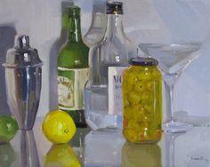 High Spirits liquor vodka martini glass olives bar decor oil painting, painting by artist Sarah Sedwick