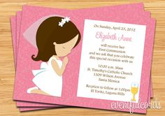 Custom First Communion Invitation for Girl created by eventfulcards. This invitation design is available on many paper types and is completely custom printed. First Communion Cards, Holy Communion Invitations, Christening Invitations, Communion Cakes, First Holy Communion, Pink Invitations, Invitation Design, Custom Invitations, Communion Favors