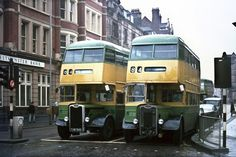 Guy buses at the traffic lights in Lichfield Street, Wolverhampton London Transport, Public Transport, Routemaster, Old Commercials, Double Decker Bus, Bus Coach, Classic Motors, Wolverhampton, Traffic Light