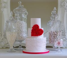 Fun love heart wedding cake and sweetie table by Cake Maison - www.cakemaison.co.uk