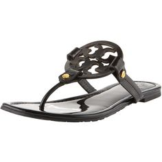 Tory Burch Miller Logo Flat Thong Sandal ($195) ❤ liked on Polyvore featuring shoes, sandals, flats, black, black patent leather shoes, tory burch sandals, black flat sandals, black patent flats and flat thong sandals