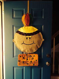 Native American Burlap door hanger