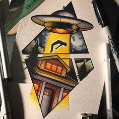 Image result for neo traditional ufo tattoo