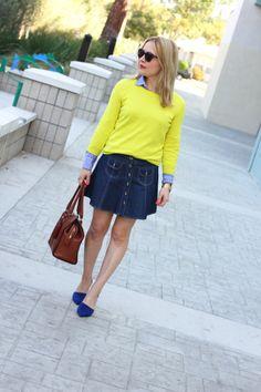 Anna Sui Skirt, J Crew Sweater and Shirt, Zara Heels