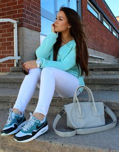 sneakers and pastel jumper