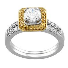 Stunning Square Style White and Yellow Diamond Engagement Ring at Houston Jewelry!