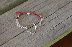 Silver heart charm adjustable bracelet with by CreationsOfJackieL