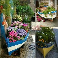 Recycle an old canoe into a large planter.