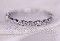 Wedding-Band-MILGRAIN-Bezel-Solid-14K-White-Gold-Diamond-Engagement-Ring