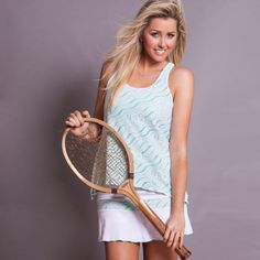 Calypso green layer tennis top in soft microfiber and covered in white athletic lace. Made in USA. Shop tennis clothes http://www.denisecronwall.com/#!product/prd13/2521065891/calypso-lace-top