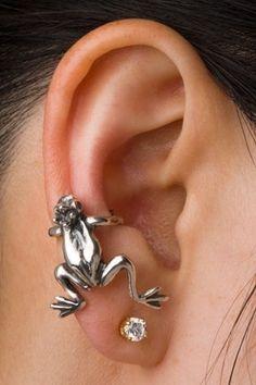 Frog Ear Cuff Silver Frog Prince Ear Cuff Frog by martymagic