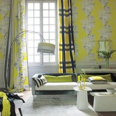 Designers Guild create inspirational home décor collections and interior furnishings including fabrics, wallpaper, upholstery, homeware & accessories. Designers Guild, Black White Rooms, Yellow Black, Yellow Rooms, Modern Window Treatments, Living Room Orange, Yellow Curtains, Plaid Curtains, Loft House