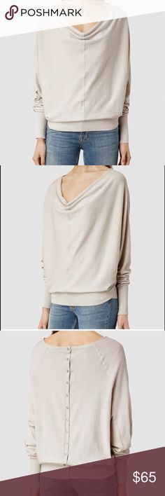 All Saints Edgar cowl neck button sweater sz 4 Brand new All Saints cowl neck sweater size 4. Retails for over $140 on the all saints site. A great cream/grey color. Size 4 fits a small I'd say. Super soft and comfy. Perfect condition. All Saints Sweaters Cowl & Turtlenecks