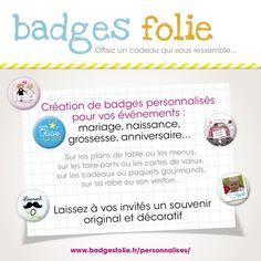 Création de badges personnalisés mariage, naissance, wedding planner