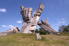 """The memorial to the victims of fascism at the Ninth Fort in Kaunas, Lithuania, was designed by sculptor A. Ambraziunas. Erected in 1984, the monument is 32 meters (105 feet) high. A brochure issued by the Ninth Fort Museum states that the monument """"symbolizes pain, sorrow, tortures, and eternal remembrance."""""""