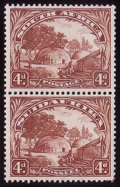 Postage stamps of South Africa - Union 1930-45. Very scarce even in a vertical pair.