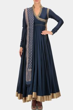 Indigo high collar angrakha anarkali kurta based in chanderi with embroidery and gold border. It comes with matching churidaar and brocade dupatta.  Fabric: Brocade, Chanderi, Heavy voile  Care Instructions: Dryclean only.