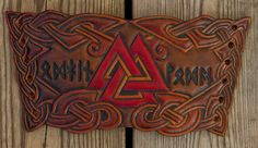 Viking Leather Wristband with Valknut Design