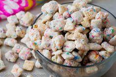 Cupcake Puppy Chow....use Funfetti instead of powdered sugar, perhaps??