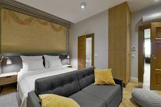 Gallery  Stradonia - elegant apartments in Krakow city   Stradonia  #design #bedroom #oldandnew #polychormies #paintings #night
