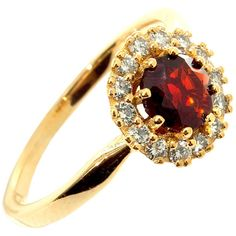 Engagement SolitaIre Diamond Garnet Ring 18k Yellow Solid Gold Ring 14... ($1,414) ❤ liked on Polyvore featuring jewelry, rings, gold fine jewelry, gold ring, diamond solitaire, garnet ring and garnet solitaire ring