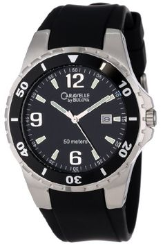 Caravelle by Bulova Mens 45B35 SilverTone and Black Rubber Band Watch ** Want additional info? Click on the image.