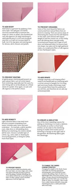 Different types of interlining