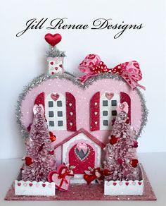 Winter Crafts For Toddlers, Valentine Crafts For Kids, Valentines Art, Valentine Wreath, Valentines Day Decorations, Valentine Day Love, Vintage Valentines, Valentine Stuff, Putz Houses