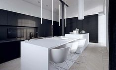 Tamizo: Decor Ideas, Black And White, Architecture Interiors, White Minimalist Kitchens, Kitchens Lights, Kitchens Islands, Kitchens ️, Pendants Lights, Black White Kitchens