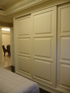 Great way to update the look in a bedroom. Trade out the old mirrored doors for these. Adds architectural detail.