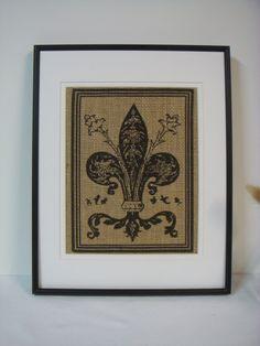 Fleur de Lis burlap Print Wall Decor Art  ---No. 2. $16.00 USD, via Etsy.