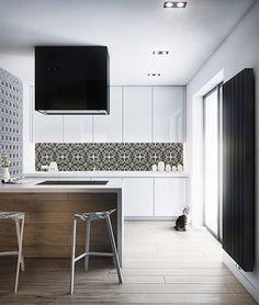 Kitchen-Walls backsplash wallpaper CEMENT TILE black white