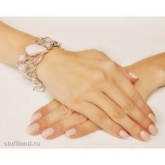 Широкий серебряный браслет с розовым опалом, горным хрусталем и розовым кварцем