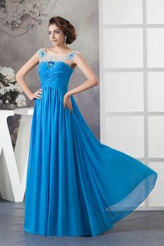 Backless Floor Length A Line Chiffon Blue Prom Dress 2013 £116.29