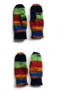Childrens mittens in rainbow colors hand knit by TinyOrchids