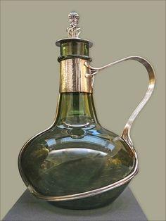 Green glass mounted in silver carafe/decanter, France Antique Bottles, Vintage Glassware, Antique Glass, Art Nouveau, Art Deco, Carafe, Cut Glass, Glass Art, V & A Museum
