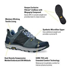 Women's Breeze LT Low GTX Waterproof Hiking Boot 7537 | Vasque Trail Shoes, Hiking Shoes, Waterproof Hiking Boots, Gore Tex, Fabric Material, Breeze, Blue Grey, Footwear, Man Shop