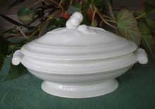 Antique White Ironstone Covered Tureen Special Flower Finial