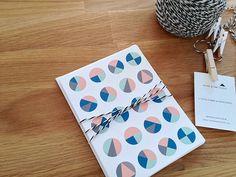 Geo Circle Pattern Mix 1 - Set of 4 Note Cards. by thinkandinkstudio