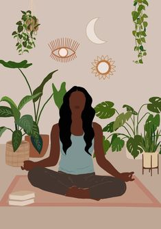 Black Woman Art | Yoga Pose | Meditation Art | Black girl Art | black yoga Art | Female Portrait | Self Love Ar