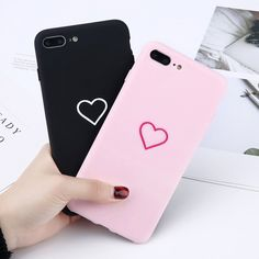 For iPhone X 6S 7 8 Plus Love Hearts Pattern Matte Soft Couples Phone Case Cover | eBay