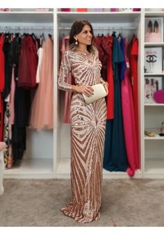 MONO RANIA Dresses, Fashion, Coveralls For Women, Long Party Dresses, Party Dress, Sequins, Fitted Bodice, Shoulder Pads, Chiffon