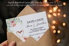 Flamingo save the date, modern Save the Date, custom save the date, quirky save the date, digital save the date, you print, 7 x 5 by OurFriendsEclectic on Etsy